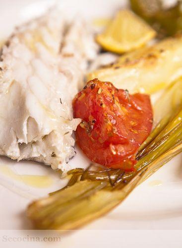 Lubina con verduras mostaza y tomillo