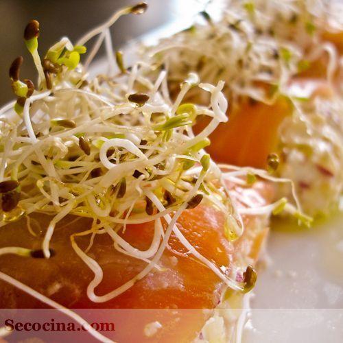 Rollitos de salmón con rábano y germinados